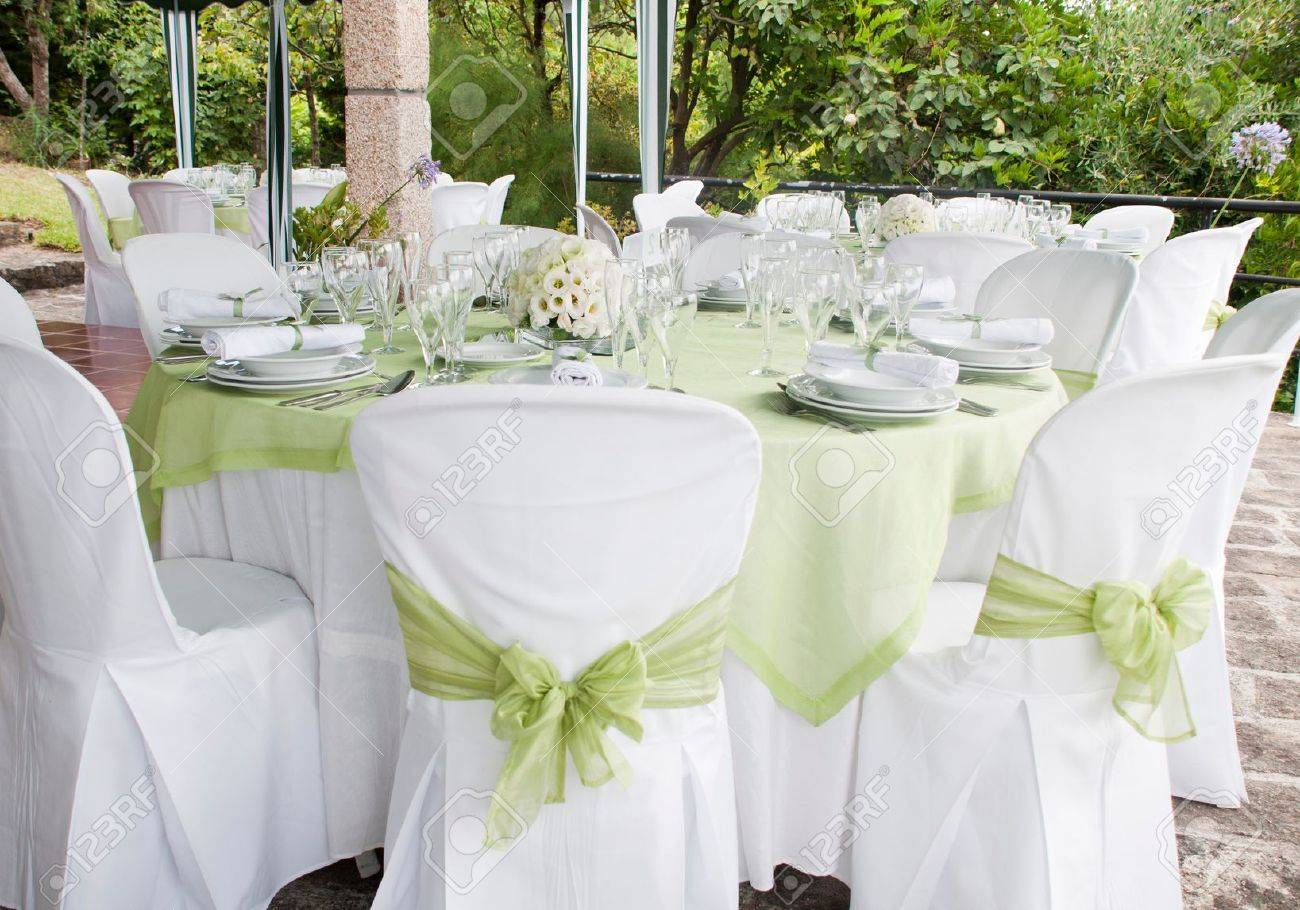 gorgeous wedding chair and table setting for fine dining at outdoors Stock Photo - 9966735