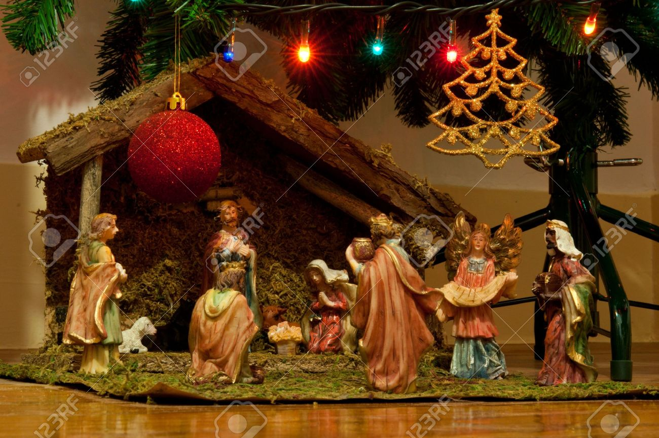Christmas Nativity Scene With Hand Colored Ceramic Figures And