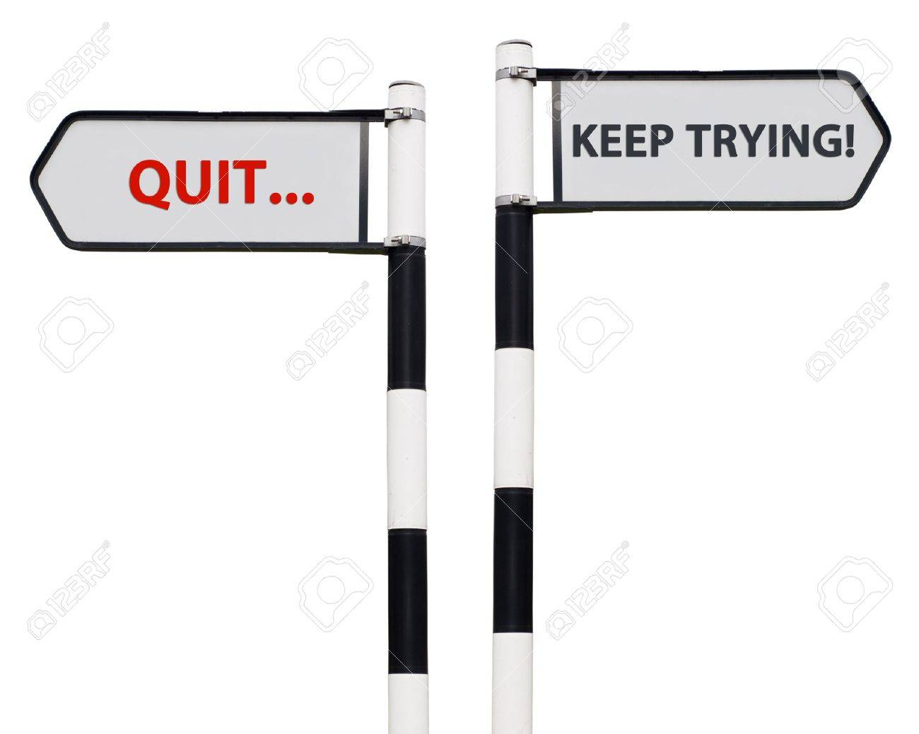 conceptual picture with keep trying and quit road signs isolated on white background Stock Photo - 13246884