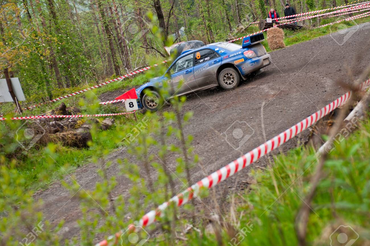 MALLOW, IRELAND - MAY 19: M. Cairns driving Subaru Impreza at the Jim Walsh Cork Forest Rally on May 19, 2012 in Mallow, Ireland. 4th round of the Valvoline National Forest Rally Championship. Stock Photo - 13760670