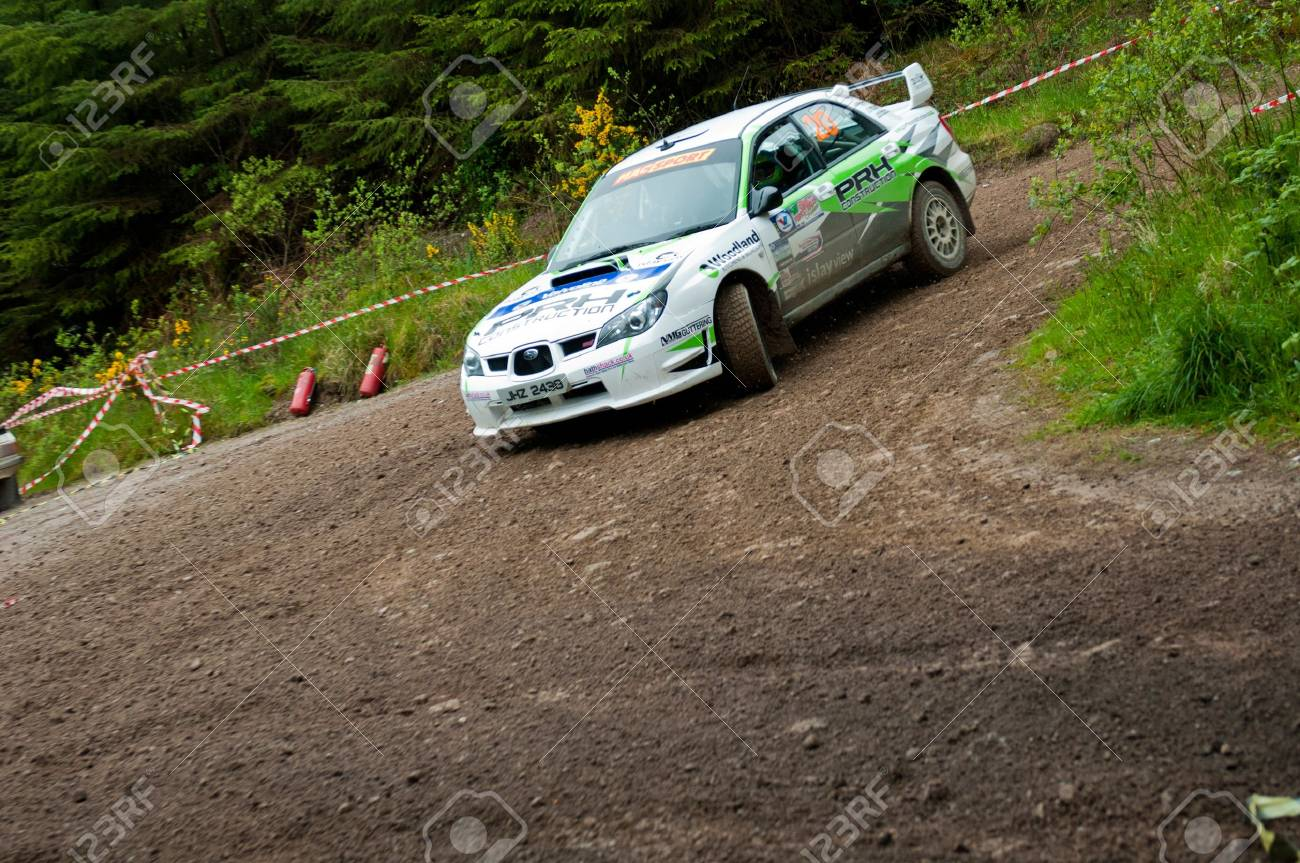 MALLOW, IRELAND - MAY 19: N. Henry driving Subaru Impreza at the Jim Walsh Cork Forest Rally on May 19, 2012 in Mallow, Ireland. 4th round of the Valvoline National Forest Rally Championship. Stock Photo - 13760745