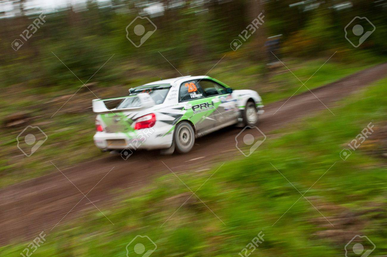 MALLOW, IRELAND - MAY 19: N. Henry driving Subaru Impreza at the Jim Walsh Cork Forest Rally on May 19, 2012 in Mallow, Ireland. 4th round of the Valvoline National Forest Rally Championship. Stock Photo - 13760617