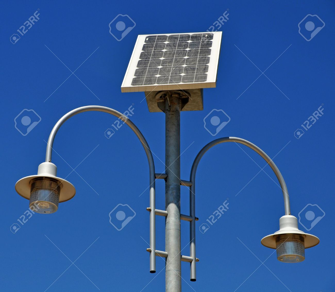 Street Lamp Post With Solar Panel Energy Against Blue Sky Stock ...