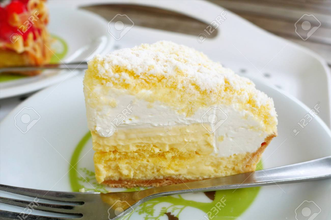 Close Up Japanese Fresh Cheese Cake On White Plate Background Stock Photo Picture And Royalty Free Image Image 88276532