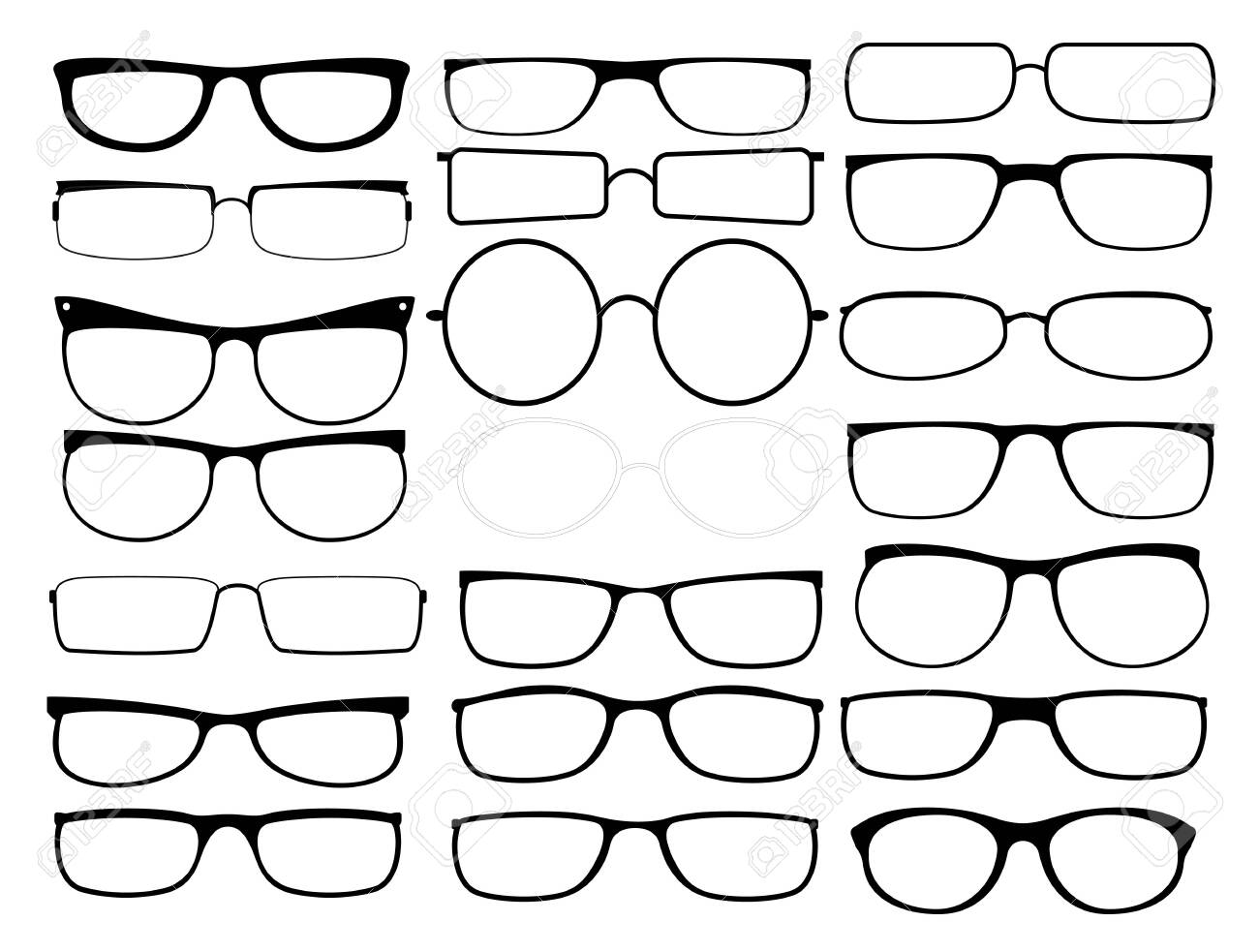 Vector glasses frames. Black rim glasses, sunglass spectacles silhouettes, eyeglasses frame fashion model for man and woman - 130258940