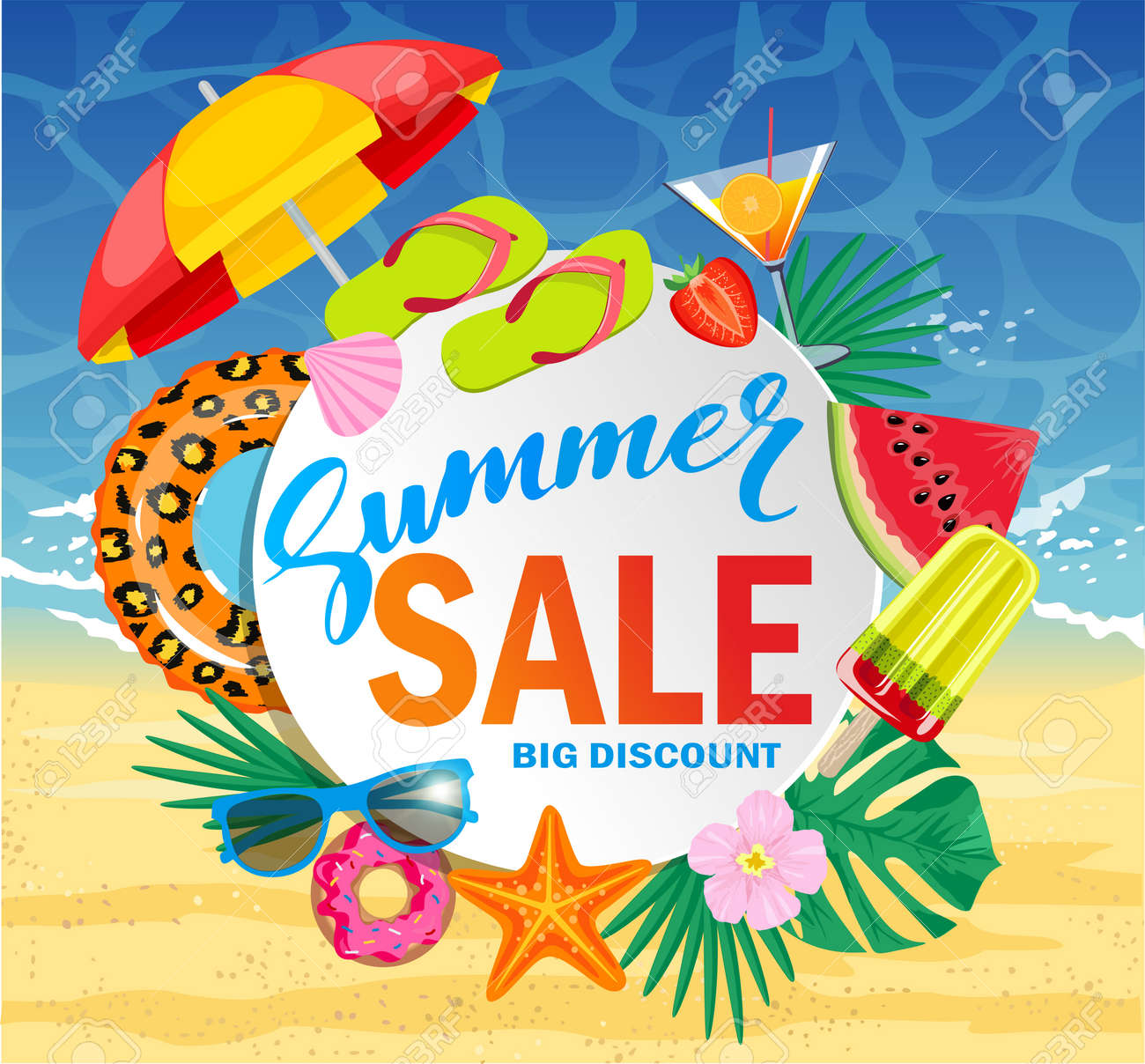 Summer sale vector banner design for promotion with colorful beach elements over white circle. Top view of sunglasses, slices of watermelon, cocktail, seashells on wooden texture. Vector illustration - 168572964