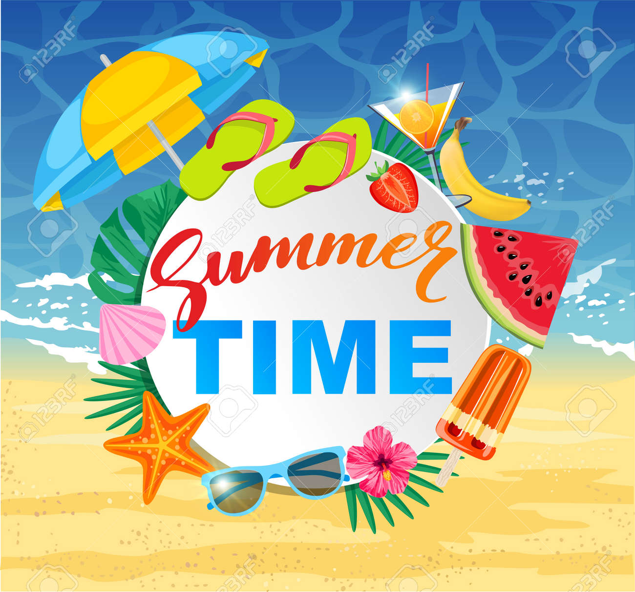 Summer time design with white circle for text and colorful beach elements. Bright greeting banner. Poster with tropical leaves, sun umbrella watermelon, popsicles, cocktail on sea background. - 169650562