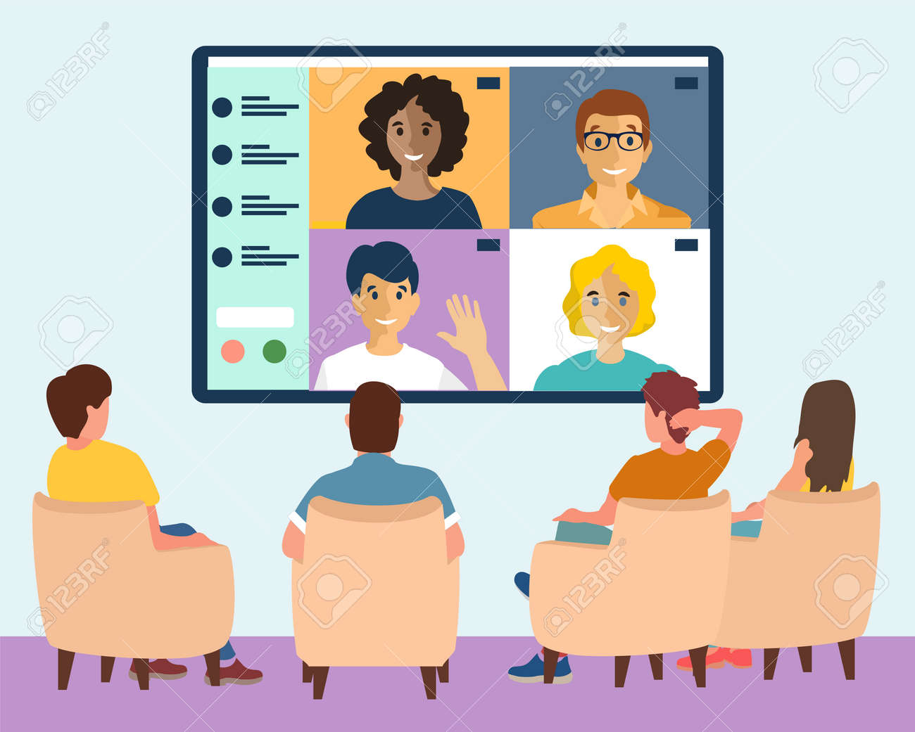 Online webinar in big city concept vector illustration. Men and Women sit in conference room and look at big screen. Internet conference, people chatting on big digital screen. Flat design vector - 169650579