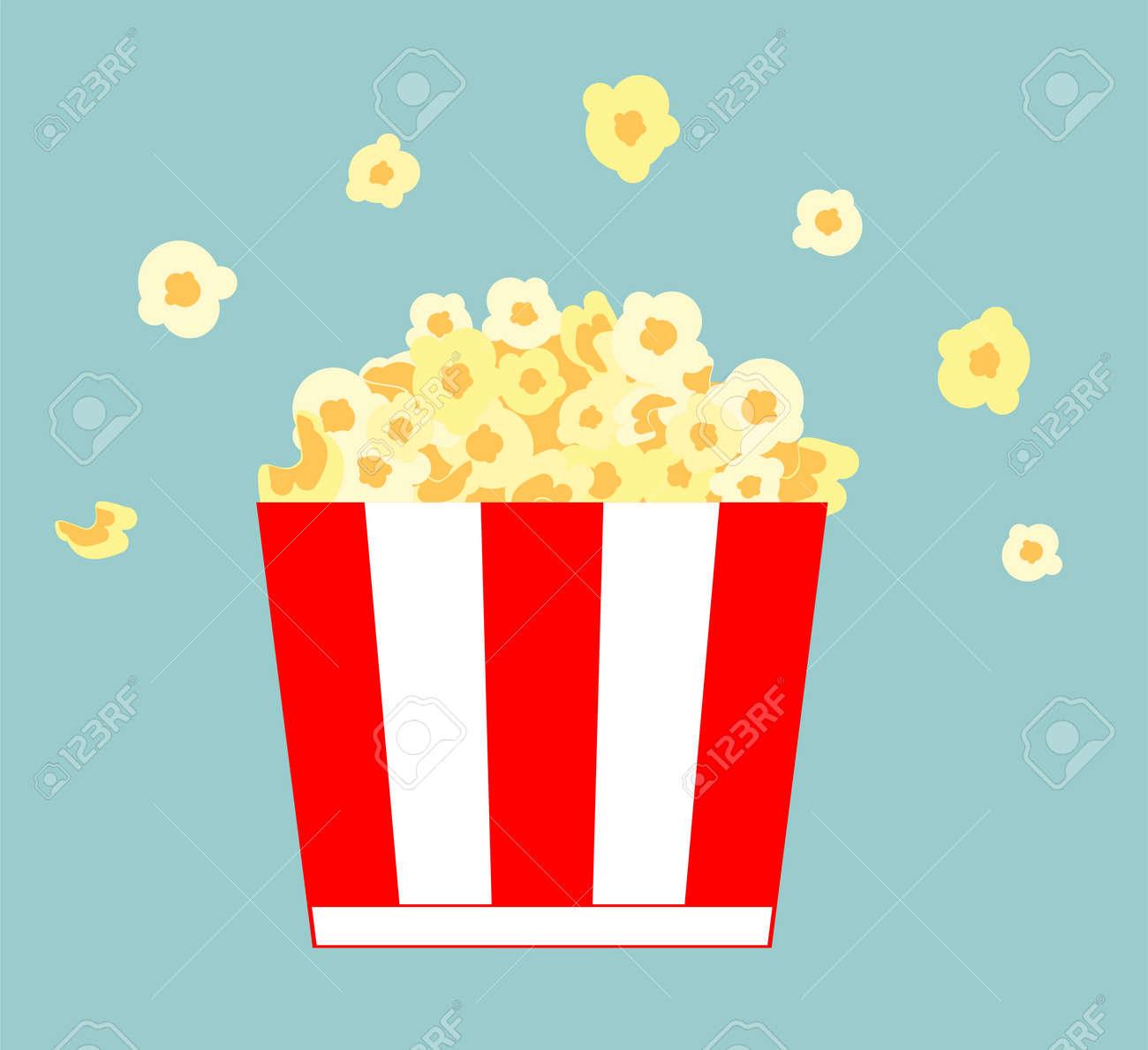 Popcorn bucket. Realistic illustration. Big portion popcorn. Cardboard or paper bucket. Cinema snack or movie food. Popcorn icon - 169650584