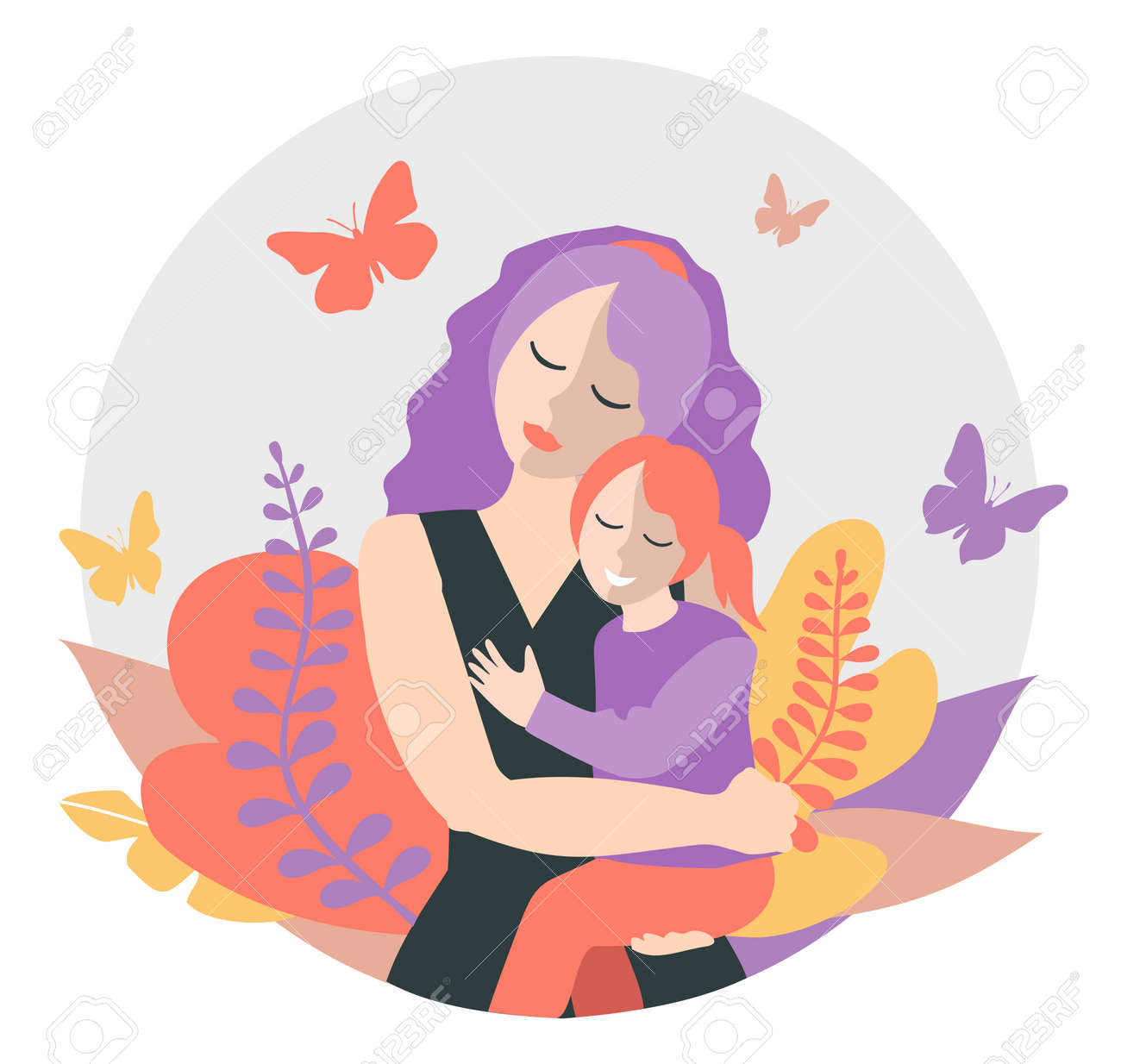 Cute mom with a young daughter. The concept of motherhood, family. Flat design with copy space. Happy woman hugs toddler. Concept of motherhood. Vector illustration on a white background - 169650594