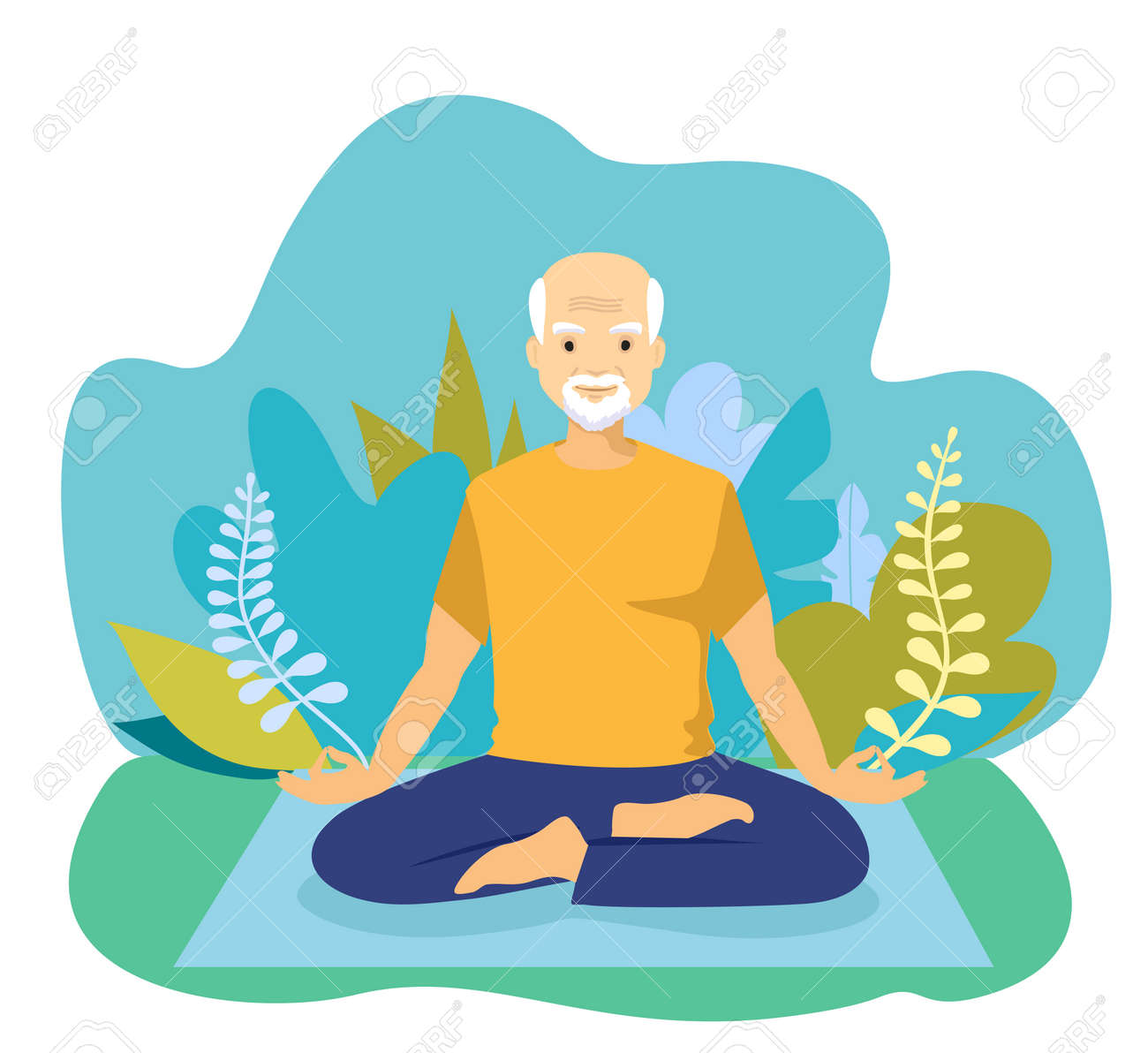 Elderly man doing yoga. Happy Retired concept. Happy relaxed chubby man practising Lotus yoga pose, meditating and doing hatha breathing exercise - 169650616