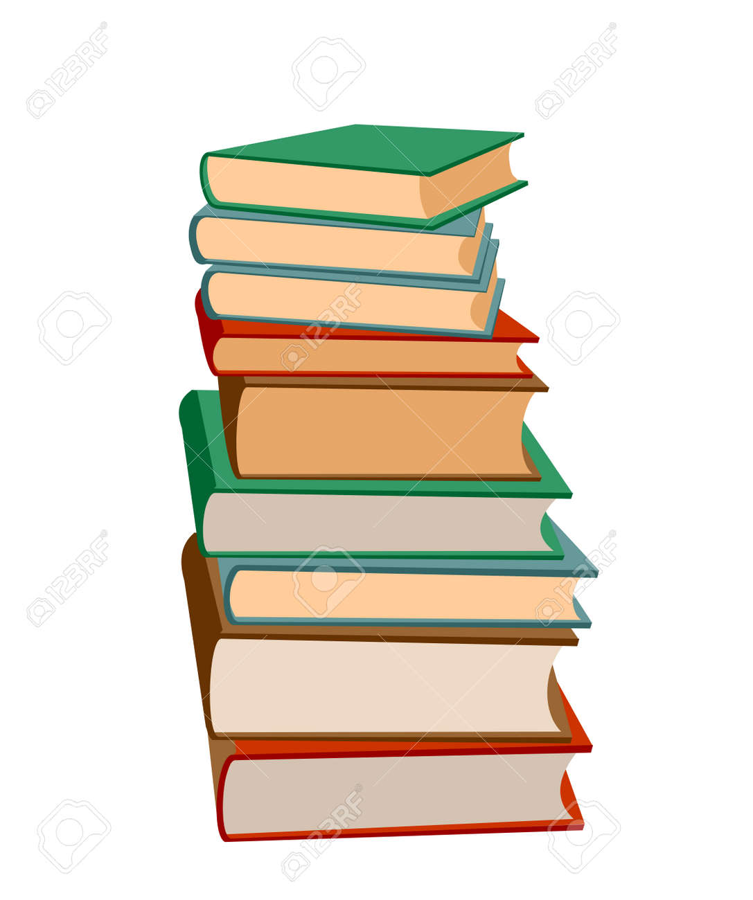 Stack of books on a white background. Pile of books vector illustration. Icon stack of books in flat style. Template design with books pile. Set of book icons in flat design style. - 169743661