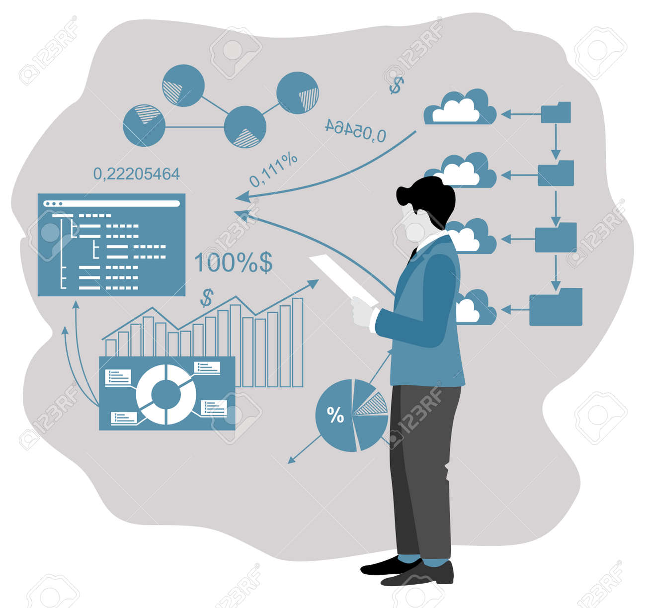 Enterprise strategy development abstract concept. Business Intelligence and business rule, big data analytics, application software, data management metaphor. Development of a commercial enterprise - 169743662
