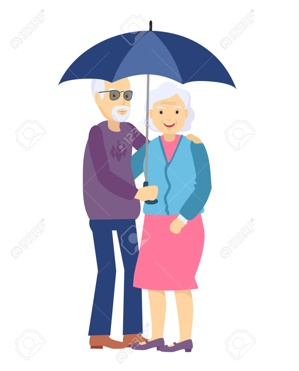 Cute senior husband and wife under an umbrella on white. Happy Elderly couple walk under a common umbrella. Aged family character. - 169743666