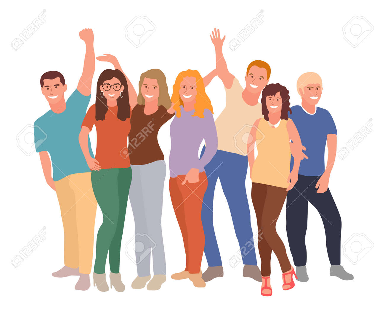 Group portrait of diverse happy young people standing together and hugging. Team of friends. Friendship concept. Young people group in casual clothes isolated on white background. vector illustration - 169743670