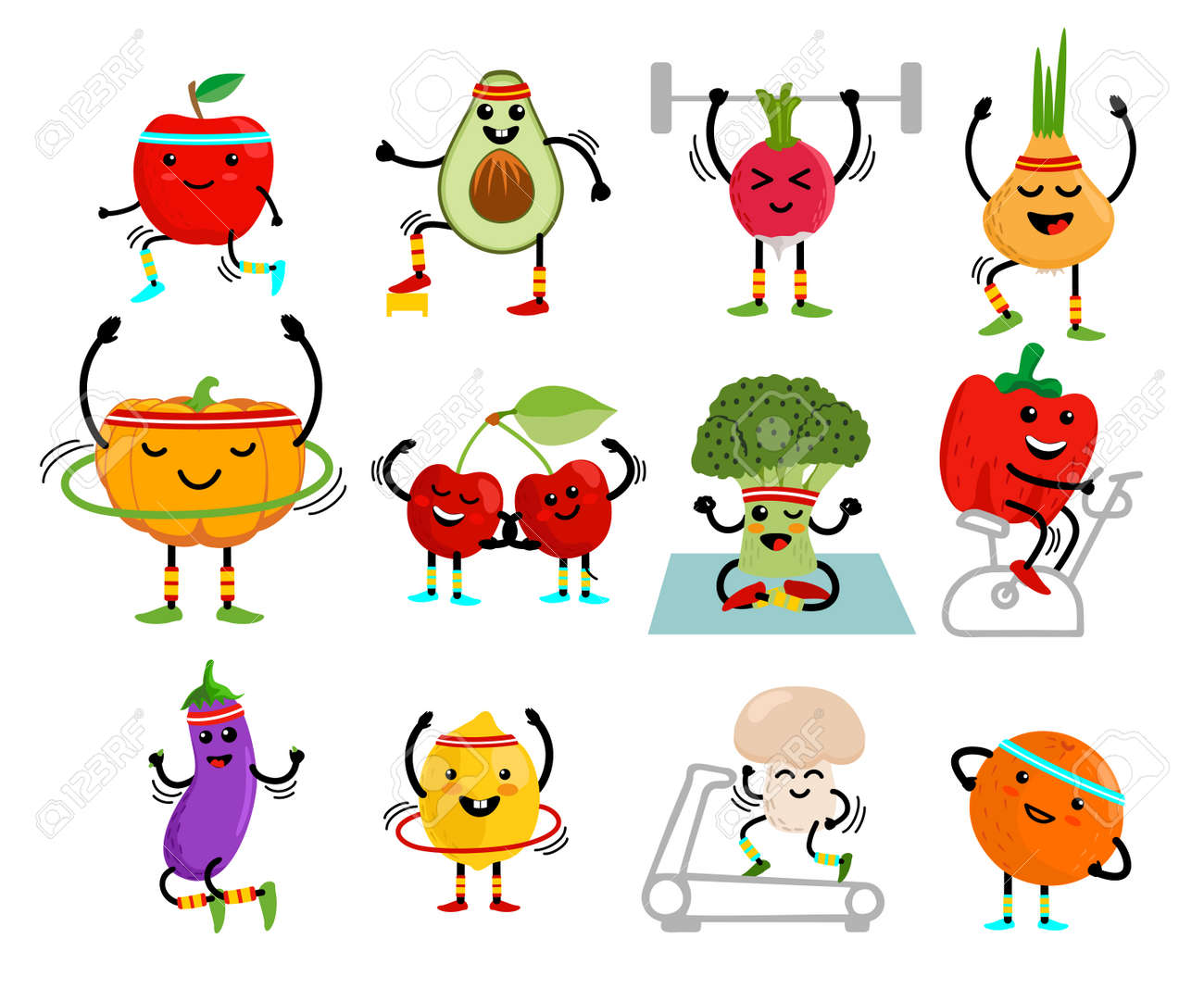 Set of cute fruits and vegetables go in for sports. Fruits and vegetables cartoon characters. Healthy eating and fitness. Cute food cartoon character set. Vector illustration - 169743672
