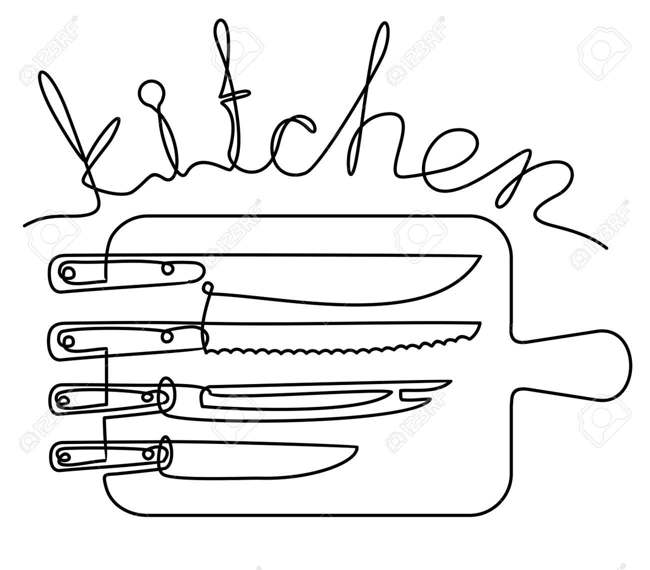 Kitchen lettering in one line. Continuous line art or One Line Drawing of Set of knives and cutting board. Linear style and Hand drawn Vector illustrations - 169743689