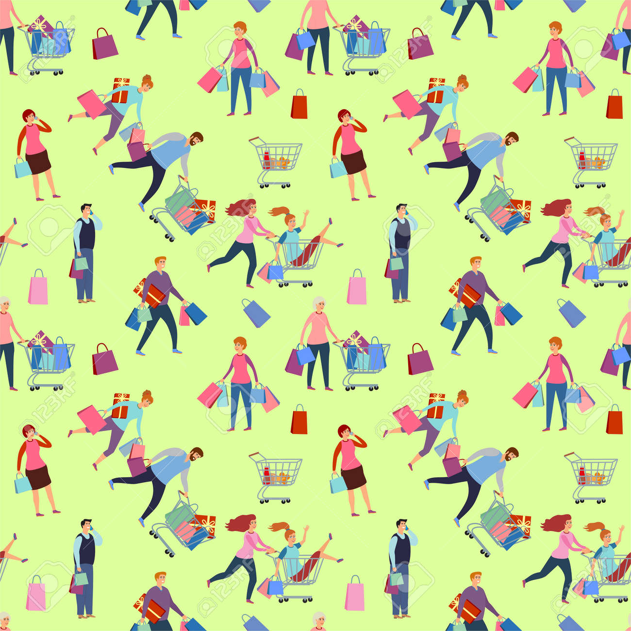Shopping people, man and woman with bags. Happy people rush to shop seamless background. Girlfriends shopping. Family in the store. Seamless vector pattern illustration - 169743697