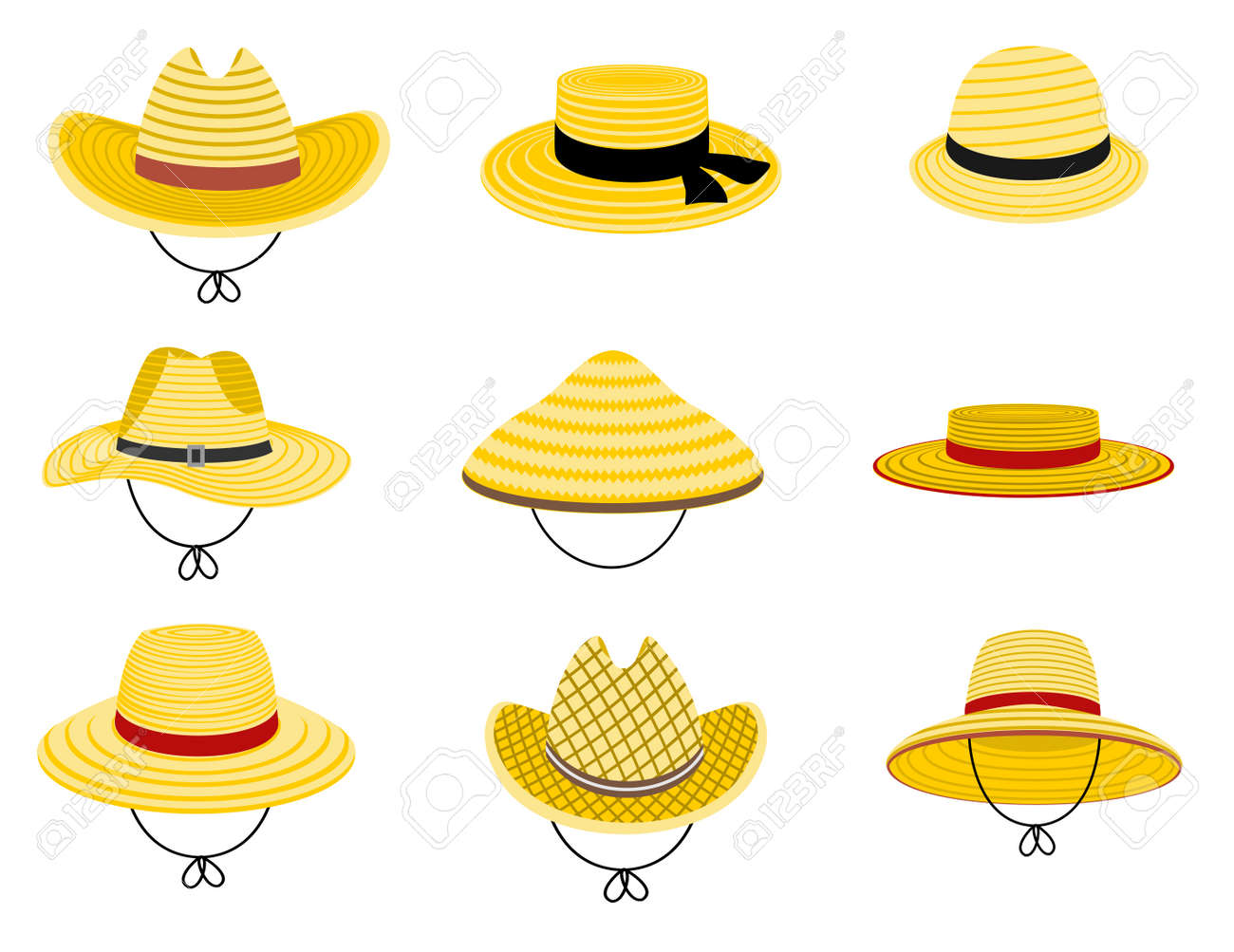 Farmers gardening hats. Summer traditional agriculture rural headdress. Asian japan hat, straw american cowboy hat and and female straw cap, yellow beach head accessory isolated on white background - 169743699