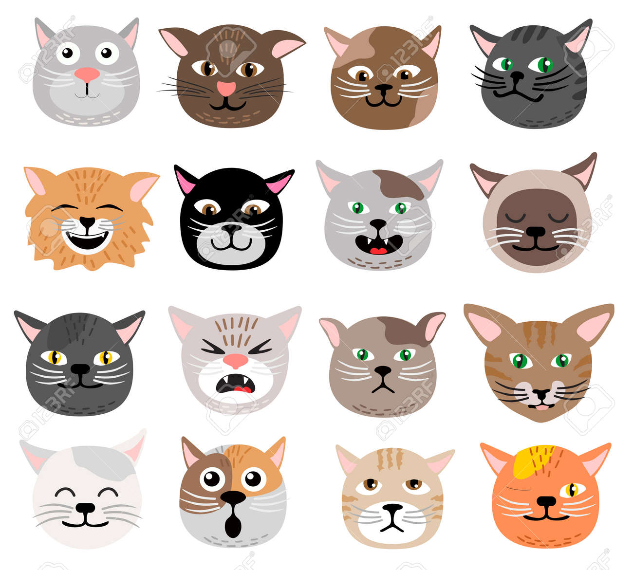 Funny cat face set vector illustration emotions Cute animal face cat heads collection - 169743707