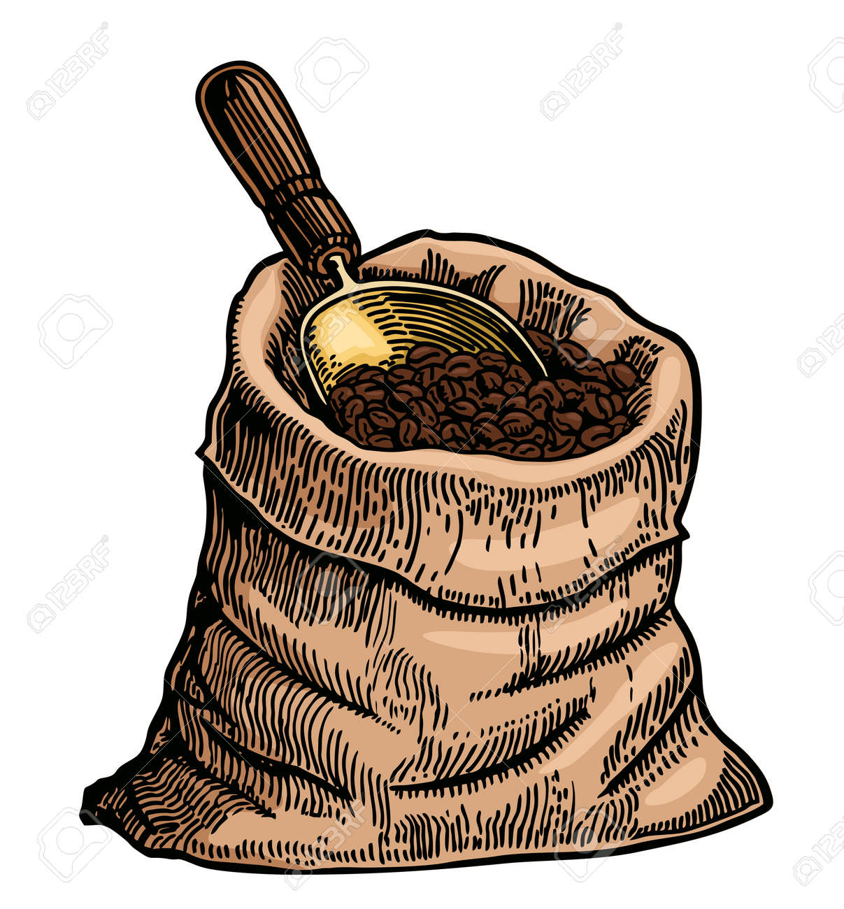 Coffee beans in a bag free hand color drawing vector image Sack of coffee beans with a scoop - 169743709