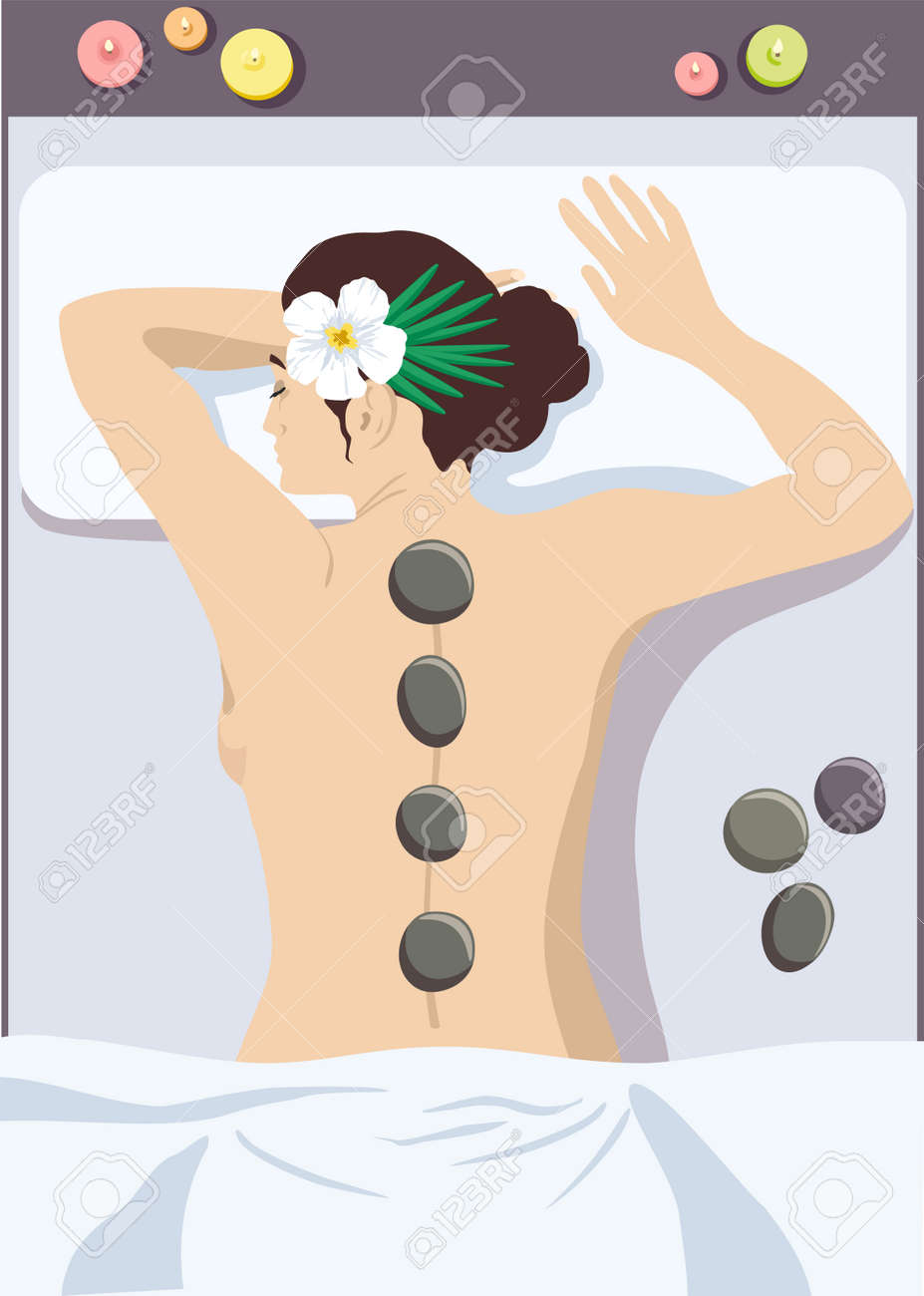Woman getting hot stone massage in spa salon, top view cartoon vector illustration. Girl getting hot stone massage in spa salon. Woman enjoying relaxing hot stone massage at beauty parlor - 169743721