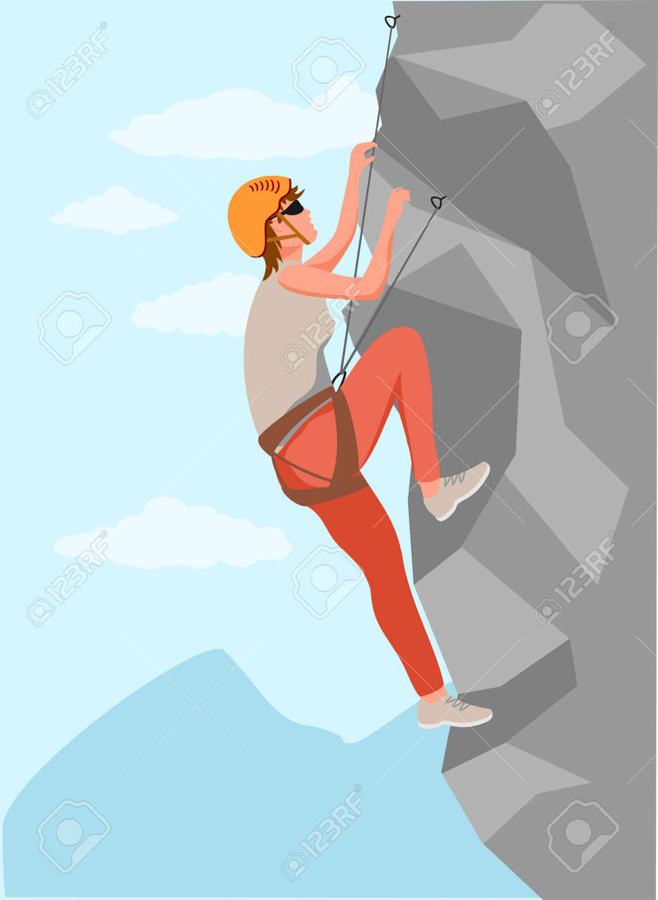 Climbers. Mountain rock climbers healthy active lifestyle activities. Young male climber in protective helmet climbing rock mountain set, extreme sport and leisure activity concept vector - 169743731