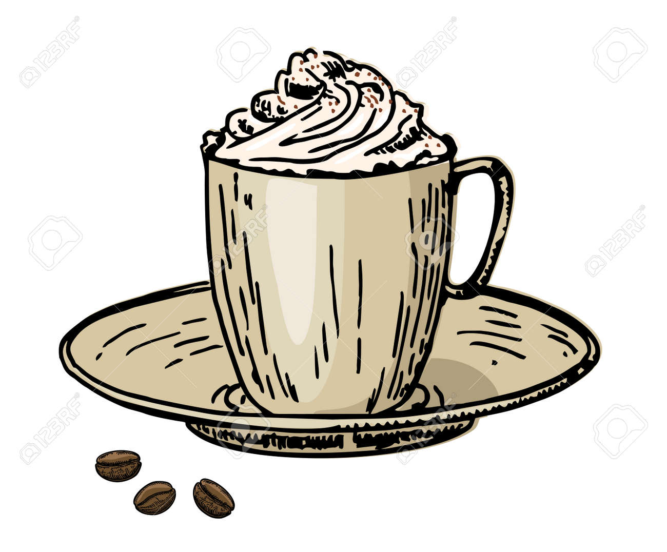 Viennese coffee. Coffee with cream in a cup and coffee beans. Caffe latte whipped cream cap - 169743737