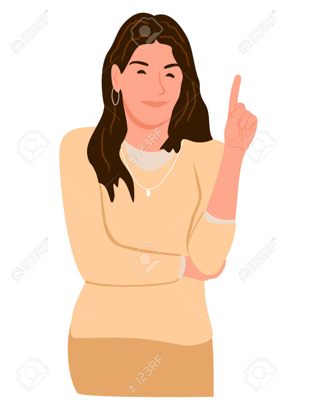A woman who raises her index finger to explain the point. Vector illustration of a girl who raised her finger up. The idea. Presentation concept. Emotion sticker in cartoon style. - 169743739