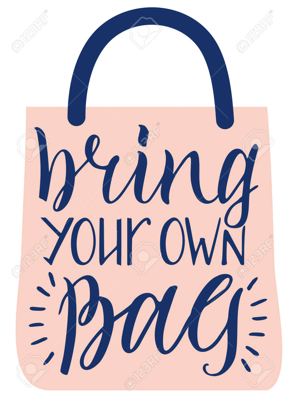 Bring your own bag. Zero waste concept. Eco bag for eco friendly living. Stylish typography slogan design sign. Vector illustration. - 169743740