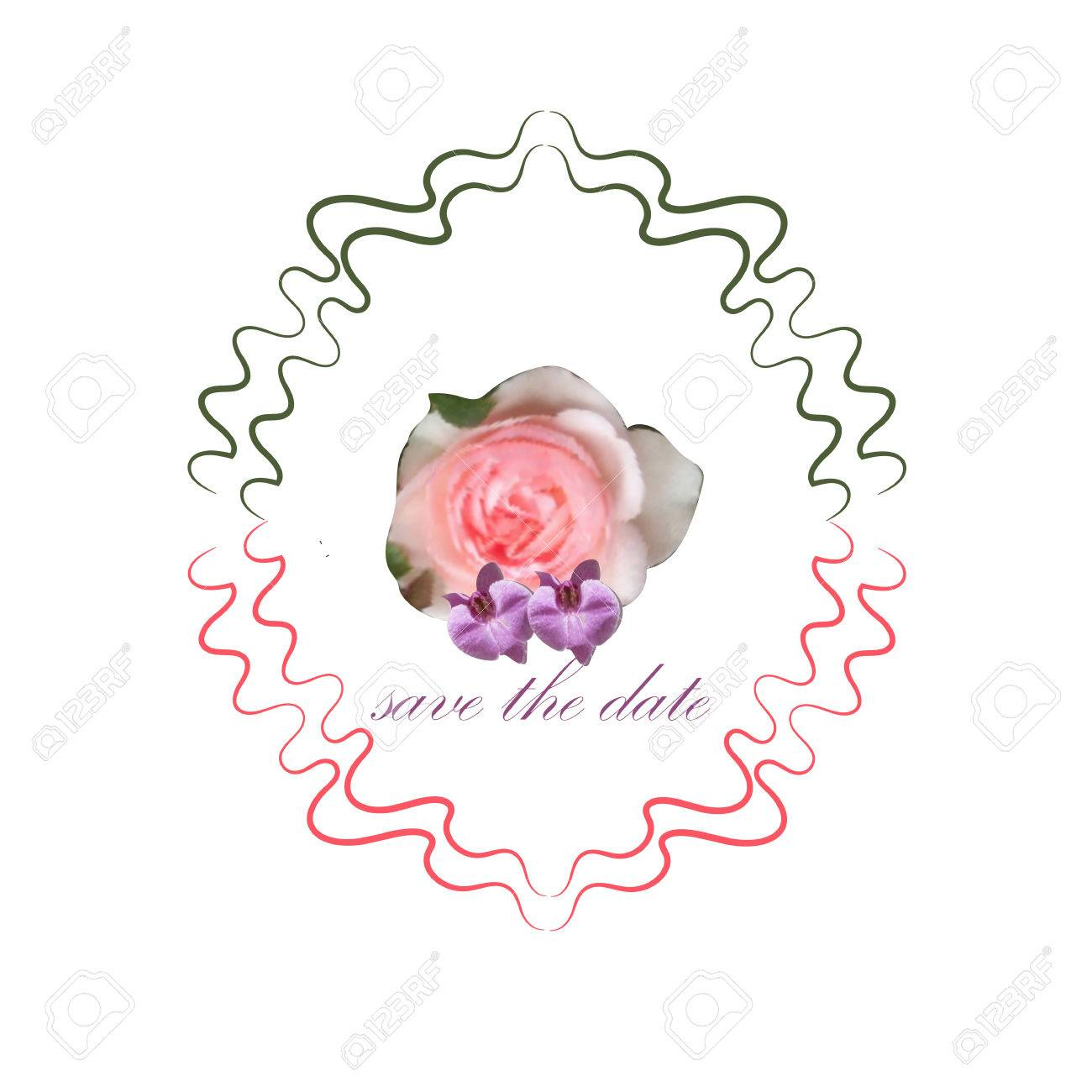 Rose In Bright Colors In Cartoon Style For Wedding Card Stock Photo ...