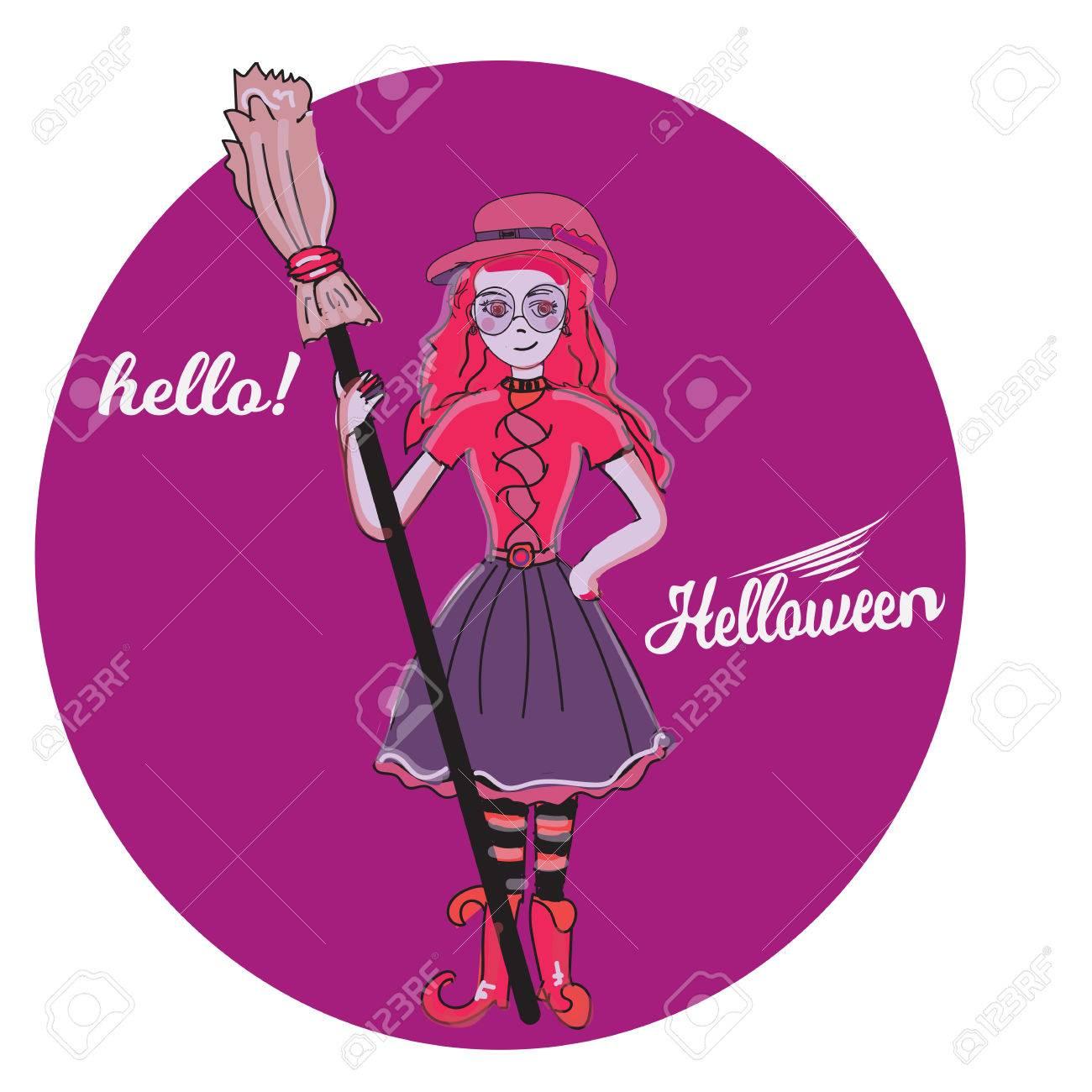 Mignonne Petite Sorcière Dessin Animé Magie Halloween Jeune Fille Chapeau De Costume De Caractère Illustration Vectorielle