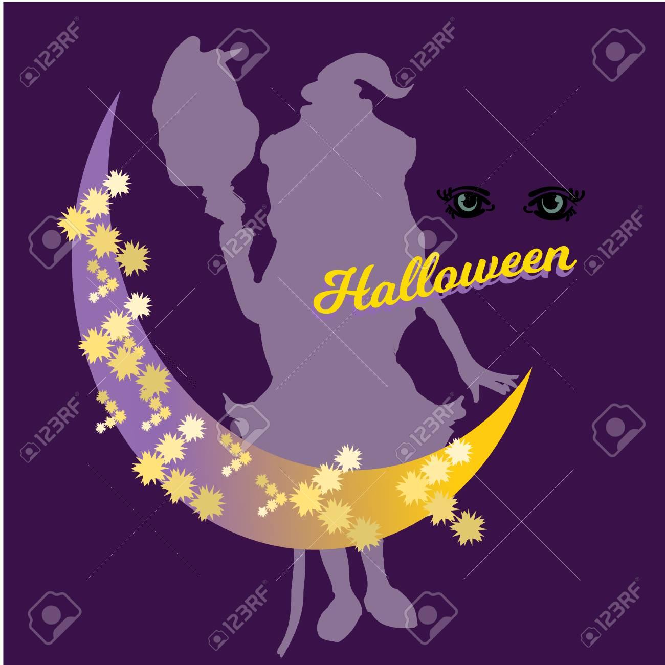 Mignonne Petite Sorcière Dessin Animé Magie Halloween Jeune Fille Chapeau De Costume De Caractère Illustration Vectorielle Bonjour