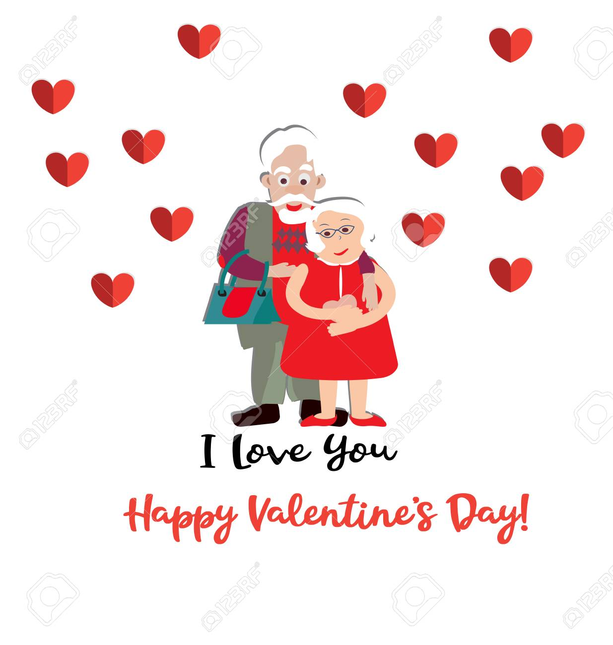 Lovely Old Couple Vector Illustration Valentine Day Royalty Free