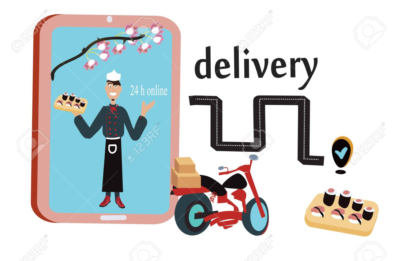 Vector of smartphone and sushi for Ecommerce concept, online shushi delivery - 149389620