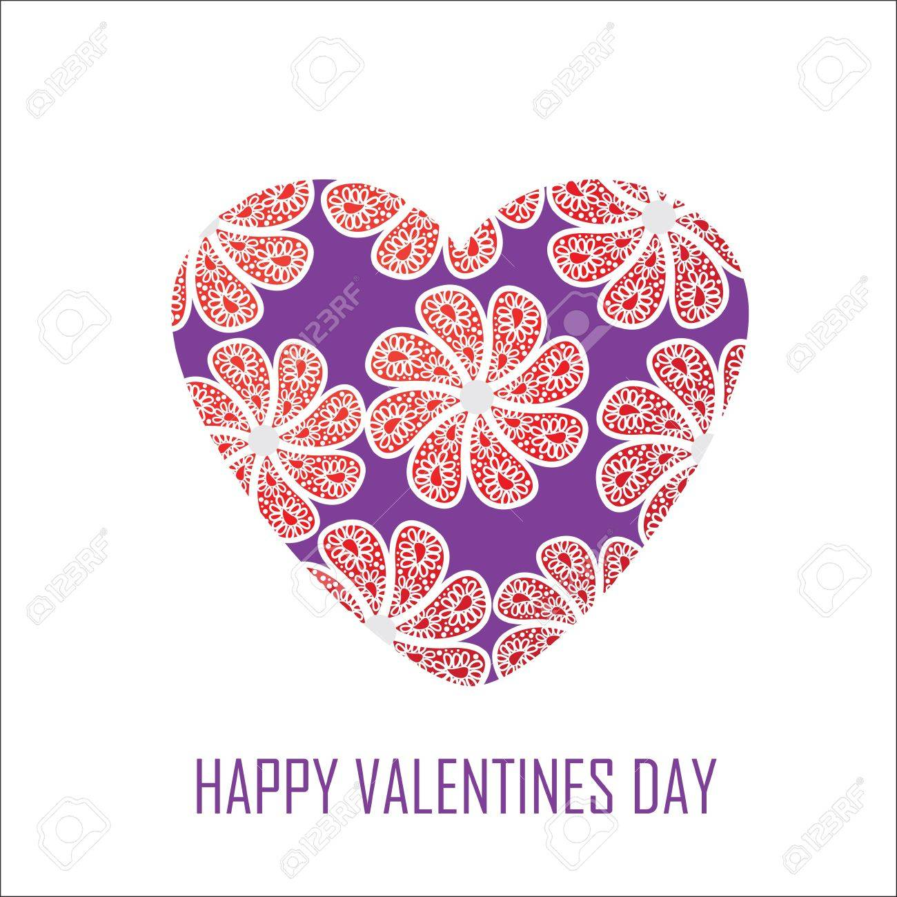 Purple heart with red flowers for Valentine's Day Stock Vector - 21894996