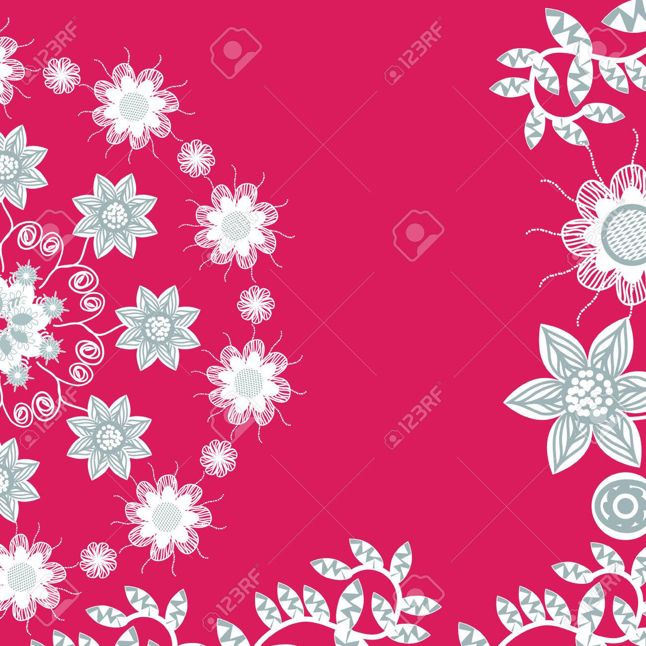 Floral Invitation Or Greeting Card On Red Background Template