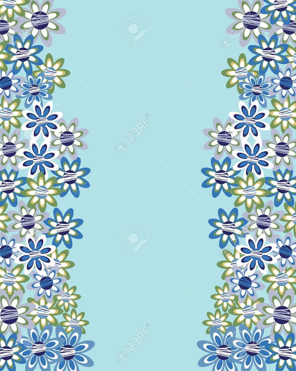 Floral Invitación O Tarjeta De Felicitación Sobre Fondo Azul. Diseño ...