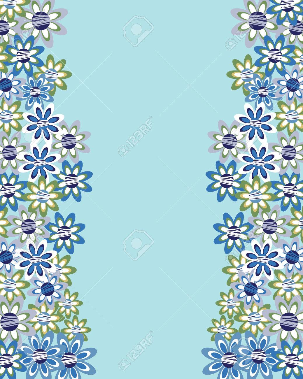 Floral Invitation Or Greeting Card On Blue Background Template