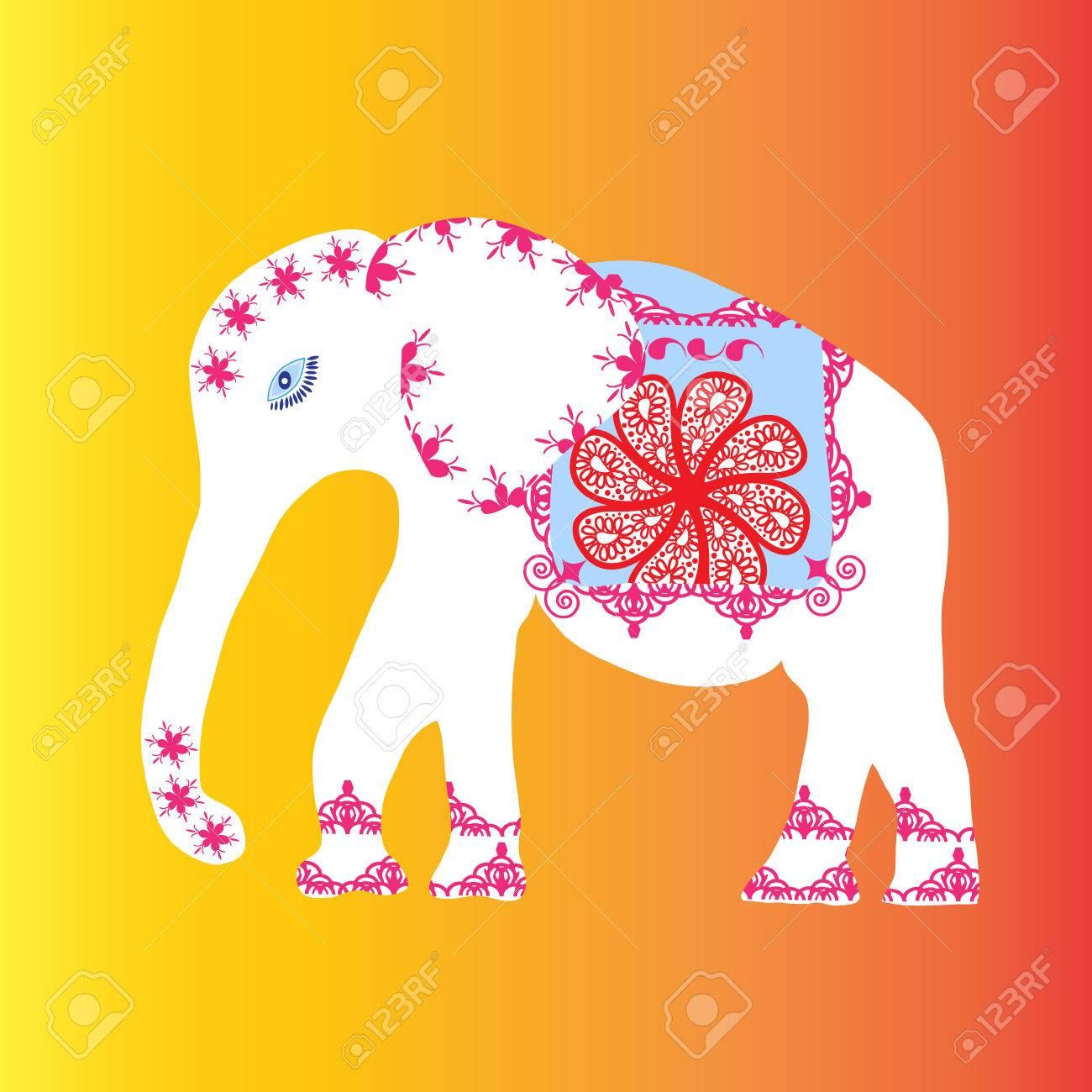 Weiß Elefant Mit Blumen Und Muster, Vektor-Illustration Lizenzfrei ...