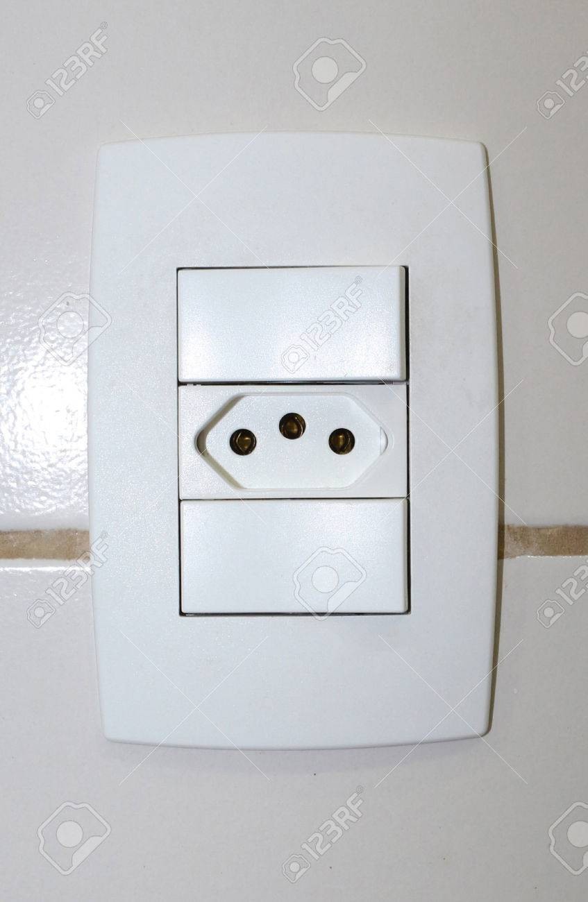 Electric Switch With Electrical Outlet 110/220 Volts. Stock Photo ...