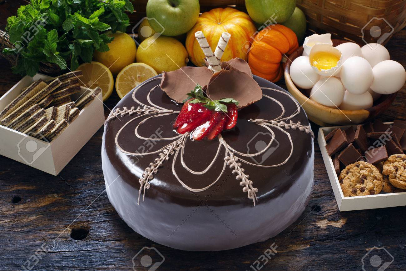 Strawberry Birthday Cake With Whipped Cream And Chocolate Stock