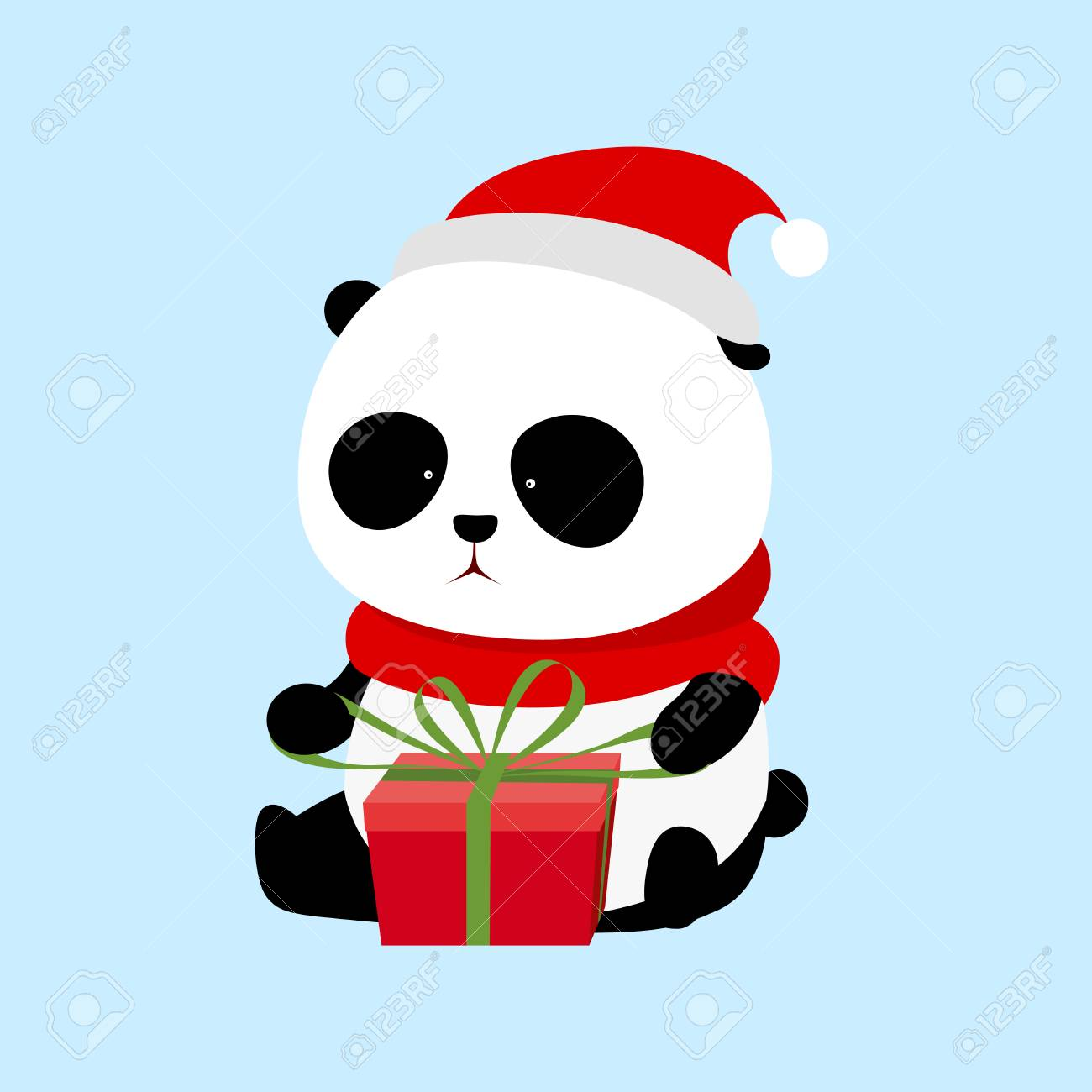Christmas Hat Cartoon.A Cute Cartoon Giant Panda With Red Scarf And Red Christmas Hat