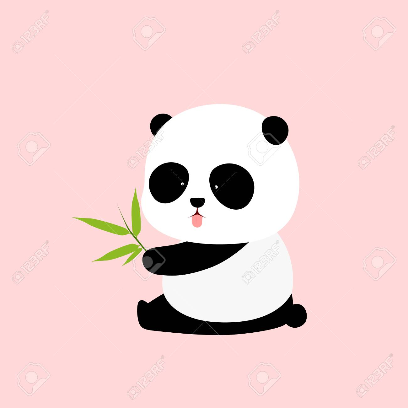 A Cute Cartoon Giant Panda Is Sitting On The Ground Sticking Royalty Free Cliparts Vectors And Stock Illustration Image 103216780