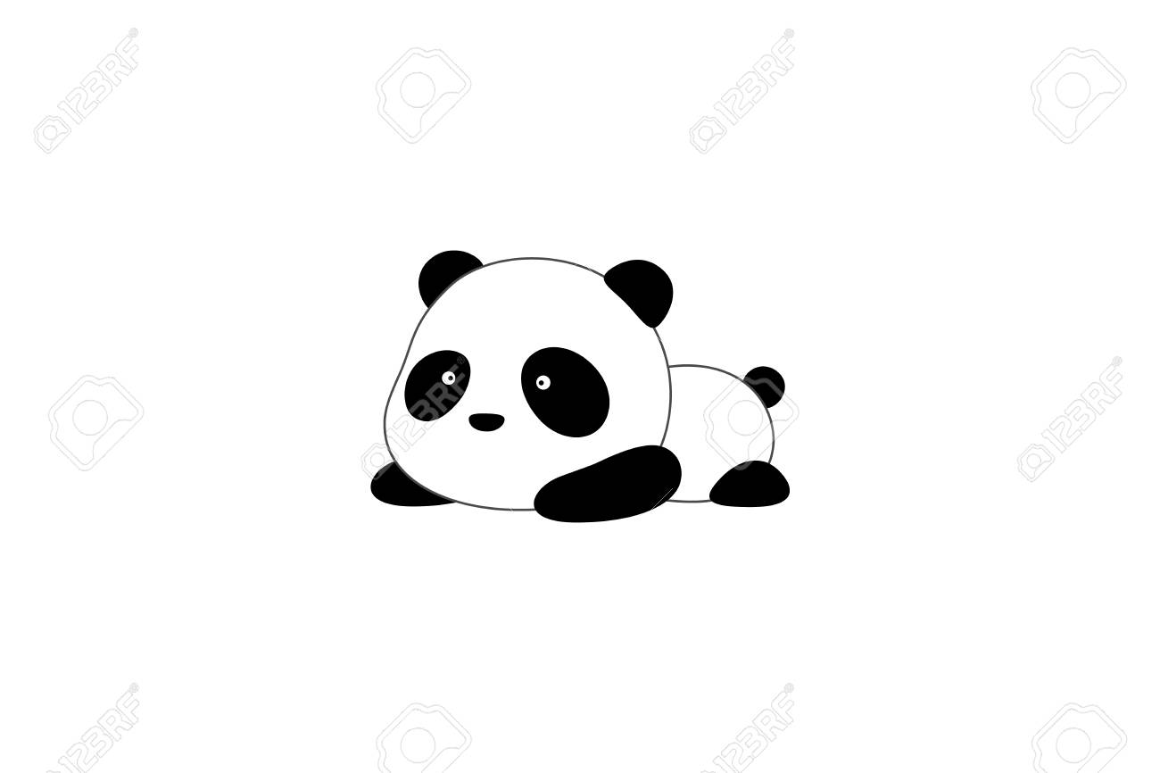 Cute funny cartoon giant panda bear lies on its stomach on the ground - 103217182