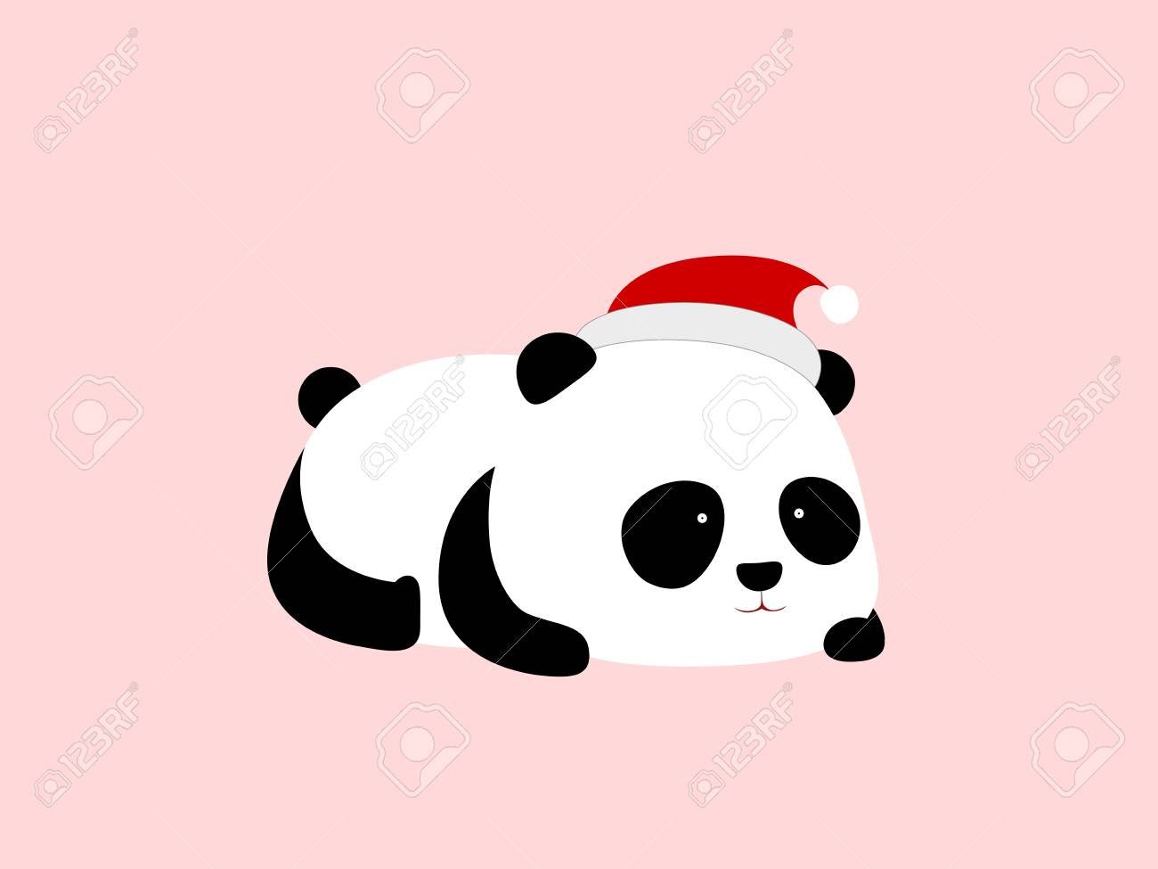 A Cute Cartoon Giant Panda Lies On Its Stomach, With A Christmas.. Royalty  Free Cliparts, Vectors, And Stock Illustration. Image 103511853.