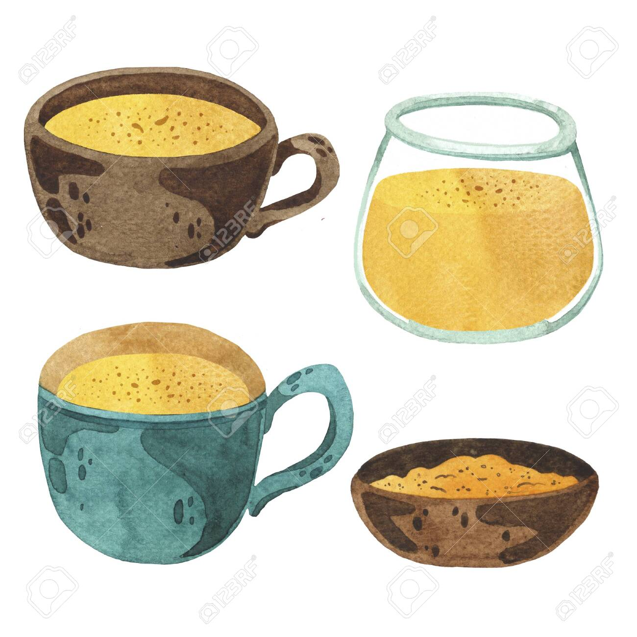 Set Of Golden Milk Clipart Of Turmeric Beverage Stock Photo Picture And Royalty Free Image Image 146085284 When designing a new logo you can be inspired by the visual logos found here. set of golden milk clipart of turmeric beverage