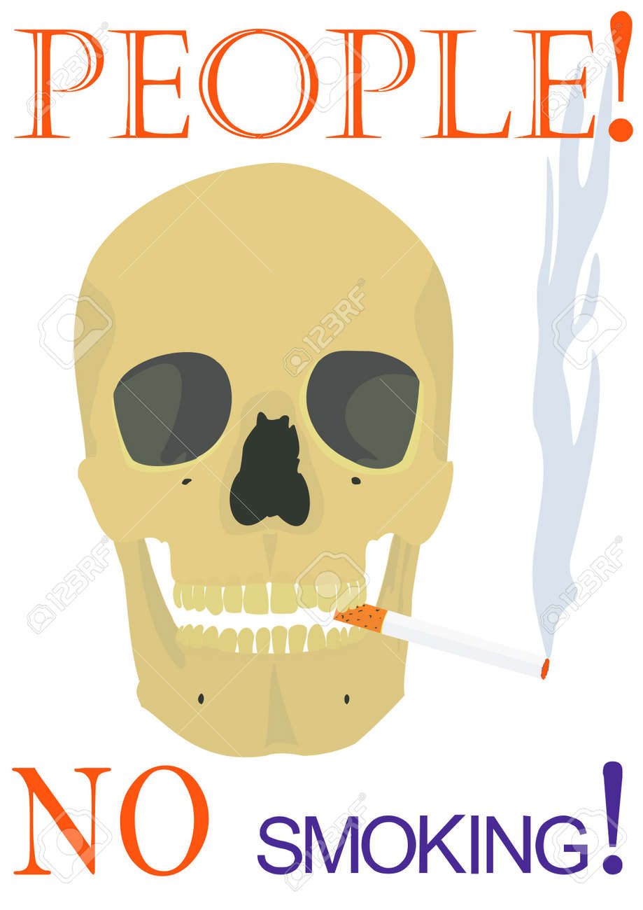 Illustration of the text, smoking skull on a white background. Stock Photo - 4812694