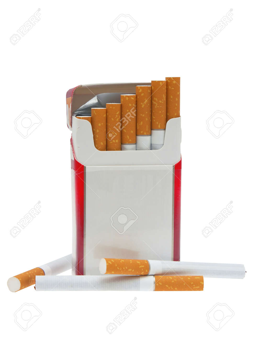 Open pack of cigarettes and a cigarette on a white background. Stock Photo - 8480784