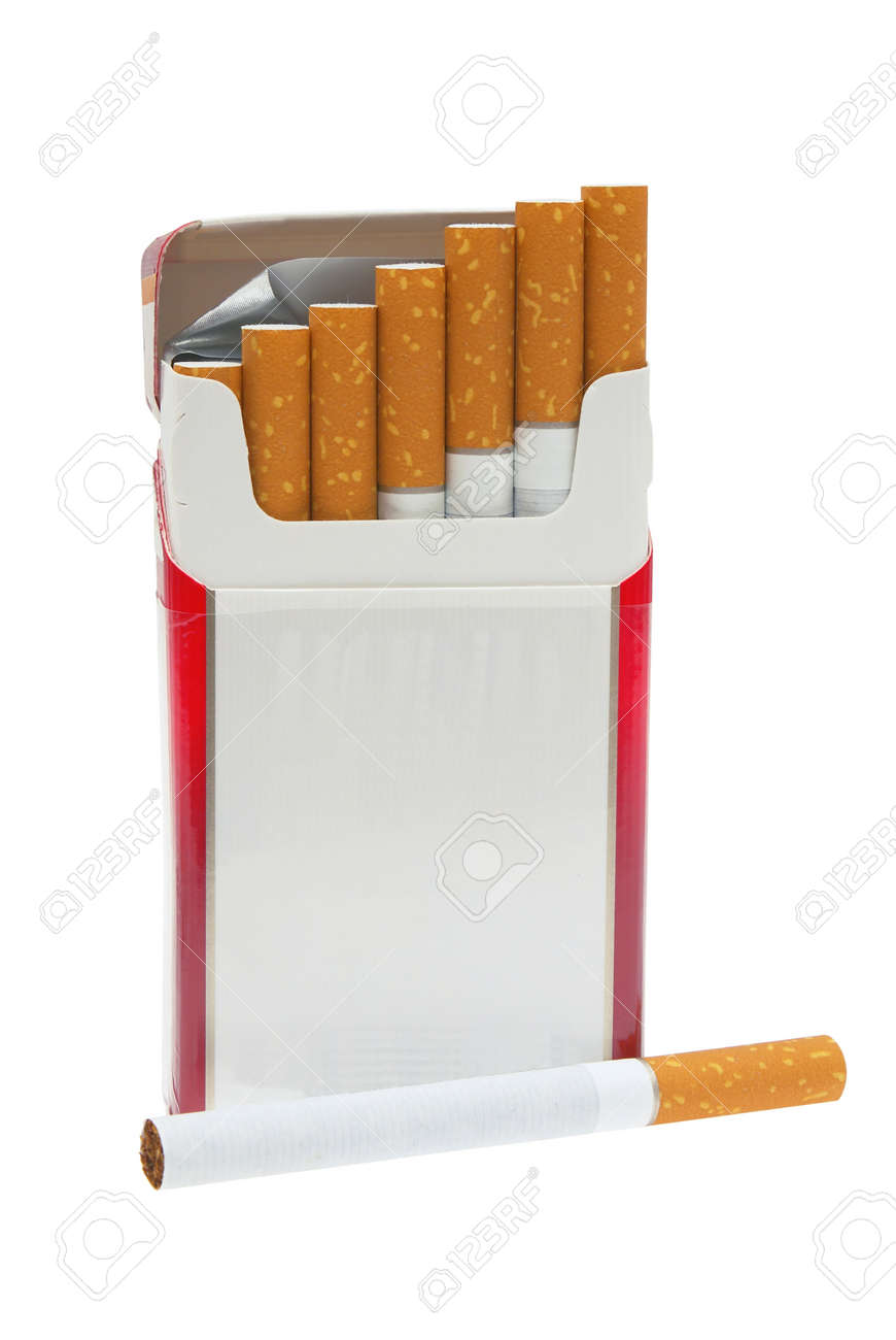 Open pack of cigarettes and a cigarette on a white background. Stock Photo - 8480791